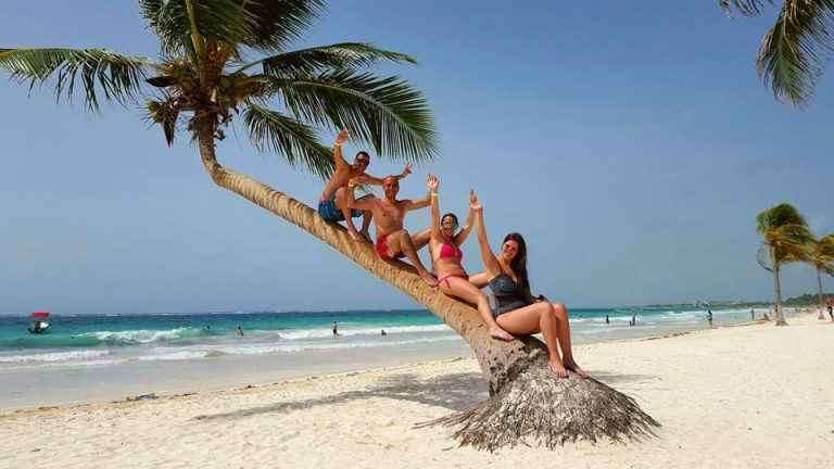 Personas en una palma en la playa