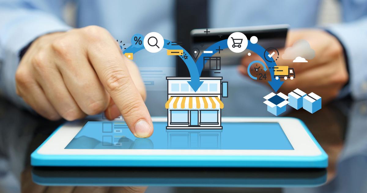 Ipad con símbolo de compras en línea